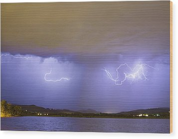 Lightning And Rain Over Rocky Mountain Foothills Wood Print by James BO  Insogna