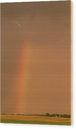 Wood Print featuring the photograph Lightning And Rainbow by Rob Graham