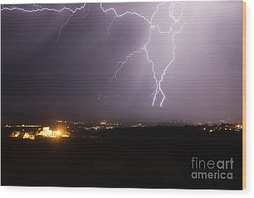 Lightning And The Douglas Mansion In Jerome Arizona Wood Print