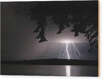 Lightning At Night Wood Print by Barbara West