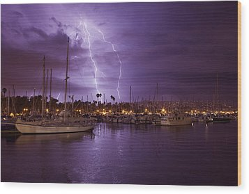 Lightning Behind Santa Barbara Harbor  Mg_6541 Wood Print