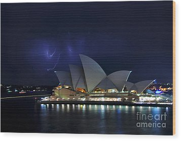 Lightning Behind The Opera House Wood Print by Kaye Menner