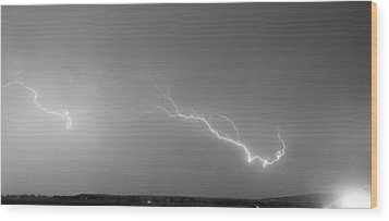 Lightning Bolts Coming In For A Landing Panorama Bw Wood Print by James BO  Insogna