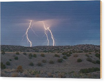 Lightning Dance Over The New Mexico Desert Wood Print