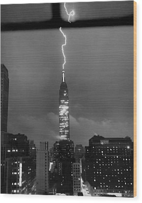 Lightning Hits Empire State Wood Print by Underwood Archives