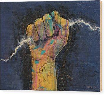 Lightning Wood Print by Michael Creese
