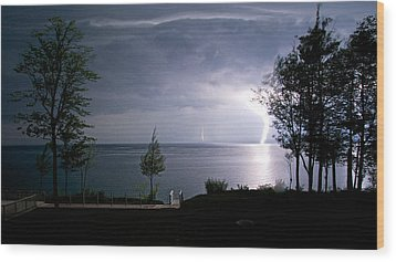 Lightning On Lake Michigan At Night Wood Print by Mary Lee Dereske