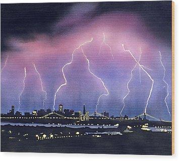 Lightning On The Bay Bridge Wood Print by Janaka Ruiz