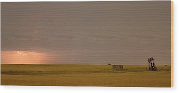 Lightning On The Horizon Of Oil Fields  Wood Print by James BO  Insogna