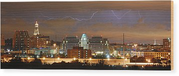Wood Print featuring the photograph Lightning Over Alexandria by Michael Donahue
