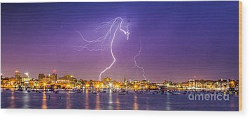 Lightning Over Downtown Portland Maine Wood Print by Benjamin Williamson
