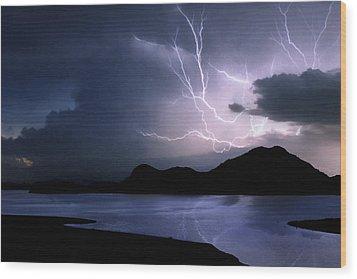 Lightning Over Quartz Mountains - Oklahoma Wood Print