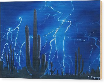 Lightning  Over The Sonoran Wood Print by Sharon Duguay