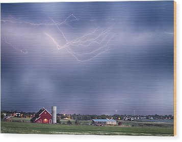 Lightning Storm And The Big Red Barn Wood Print by James BO  Insogna
