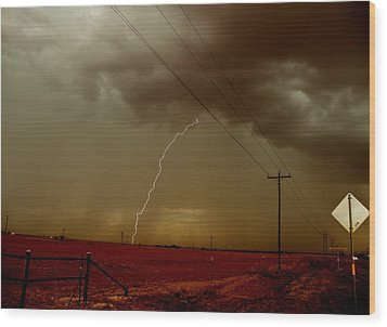Wood Print featuring the photograph Lightning Strike In Oil Country by Ed Sweeney