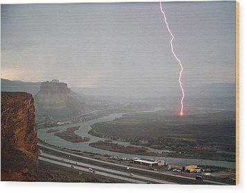 Lightning Strike Near Green River Wood Print