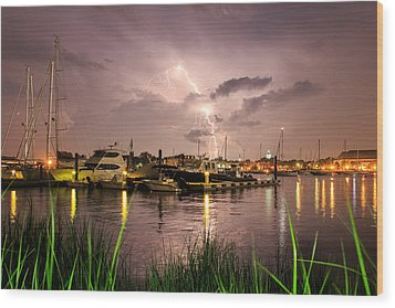 Lightning Strikes Annapolis Wood Print by Jennifer Casey