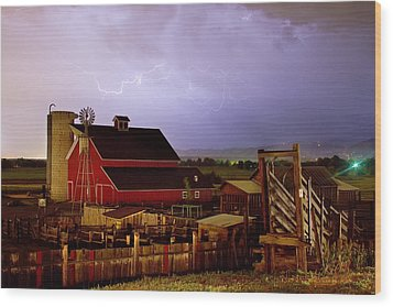 Lightning Strikes Over The Farm Wood Print by James BO  Insogna
