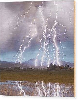 Lightning Striking Longs Peak Foothills 4c Wood Print