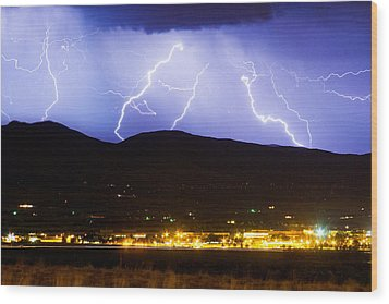 Lightning Striking Over Ibm Boulder Co 3 Wood Print by James BO  Insogna