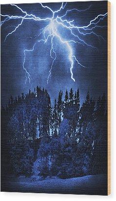 Lightning Wood Print by Svetlana Sewell