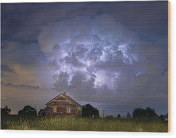 Lightning Thunderstorm Busting Out Wood Print by James BO  Insogna