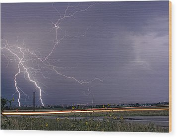 Lightning Thunderstorm Dragon Wood Print by James BO  Insogna