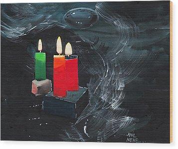 Lights Wood Print by Anil Nene