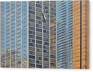 Lights - Camera - Action - Movie Backdrop Chicago Wood Print by Christine Till
