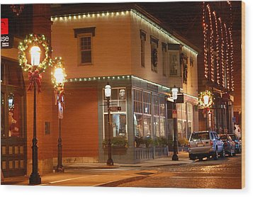 Lights Lowell Ma At Christmas Wood Print by Mary McAvoy