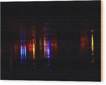 Lights On The River Reflection Wood Print by Susan Garren