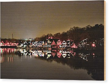Lights On The Schuylkill River Wood Print by Bill Cannon