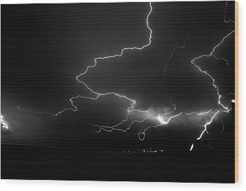 Lights Over The Gulf Wood Print by David Lee Thompson