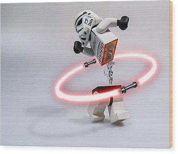 Lightsaber Hula Oops Wood Print by Randy Turnbow