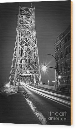 Wood Print featuring the photograph Lightspeed Through The Lift Bridge by Mark David Zahn Photography