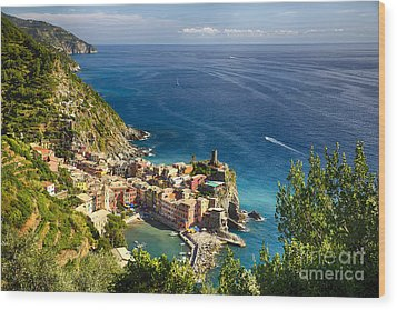 Ligurian Coast View At Vernazza Wood Print by George Oze