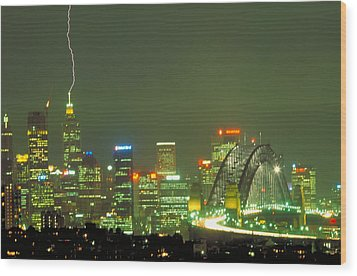 Lihtning On Sydney Wood Print by Sandro Rossi