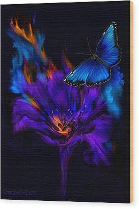 Like A Moth To A Flame Wood Print