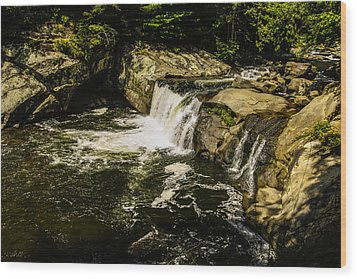 Lil Bald River Falls Wood Print by Marilyn Carlyle Greiner