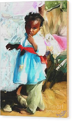 Wood Print featuring the painting Lil Girl  by Vannetta Ferguson