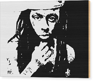 Wood Print featuring the painting Lil Wayne  by Cherise Foster