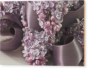 Lilac And Ribbon Curls Wood Print by Sandra Foster