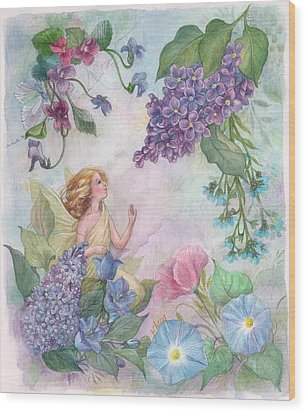 Lilac Enchanting Flower Fairy Wood Print by Judith Cheng