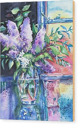 Lilac Light Wood Print by Trudi Doyle