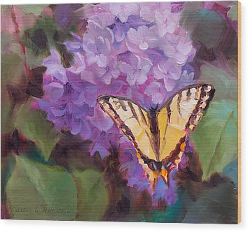 Lilacs And Swallowtail Butterfly Wood Print by Karen Whitworth