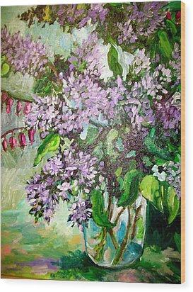 Lilacs Wood Print by Carol Mangano