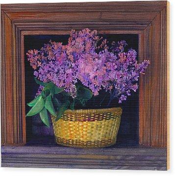 Lilacs Framed Wood Print