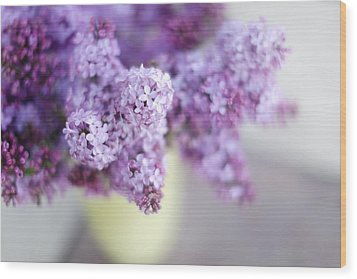 Lilacs In A Vase Wood Print by Rebecca Cozart