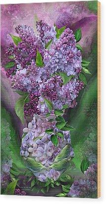 Lilacs In Lilac Vase Wood Print by Carol Cavalaris