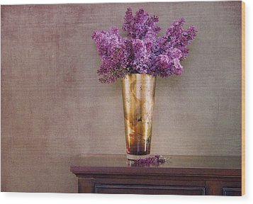 Lilacs In Vase 1 Wood Print by Rebecca Cozart